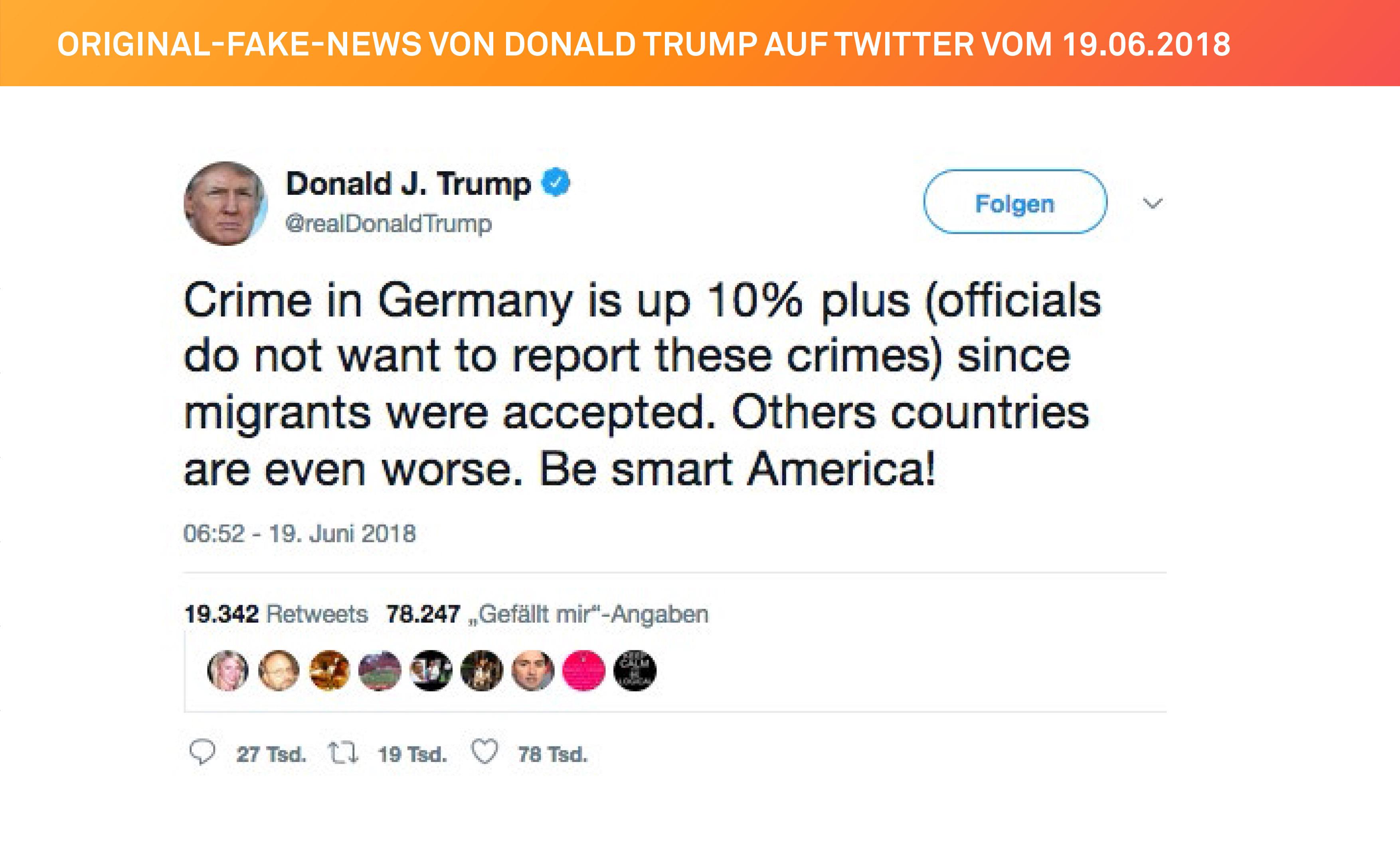 Die Original-Fake-News von Donald Trump auf Twitter