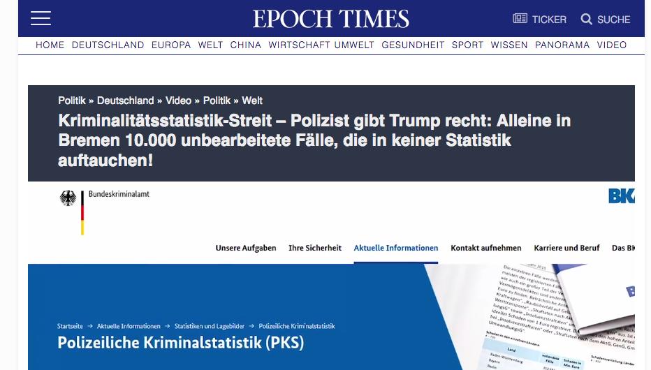 Artikel der Epoch Times – die Fake News wird sogar weitergesponnen mit fragwürdigen Quellen